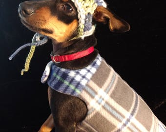 Fleece Dog Sweater with Matching Hat