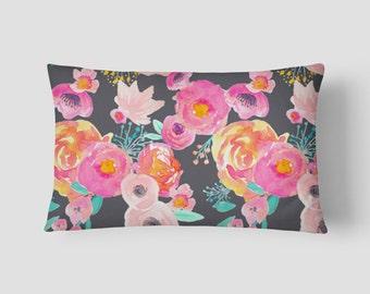 """Blush Grey Floral // Decorative Pillow Cover 12""""x18"""" // Lumbar Pillow // Rectangular Throw Pillow"""