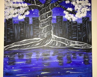 Midnight Tree Acrylic Painting