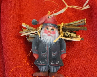 Hand Painted Acrylic Folk Art Santa with Genuine Wood Backpack- Rosemaling, Christmas, Holiday Ornaments