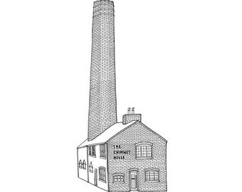 The Chimney House Kelham Island Print - Sheffield Illustration - Sheffield Gift - Sheffield Architecture - Black and White - Line Drawing