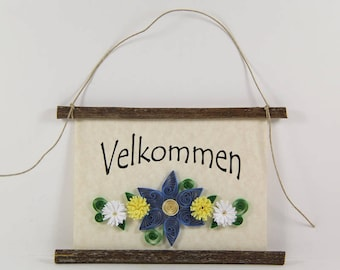 Velkommen, Danish Welcome, Paper Quilled Denmark Welcome Sign, 3D Quilled Banner, Blue Yellow White Decor, Denmark Gift, Danish Wall Art