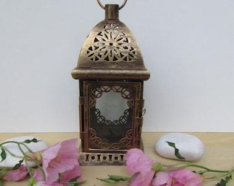 Vintage Average Shabby Lantern, Filigree Metal Lantern Candle, Shabby Black Paint Finish with A Copper Hue, Vintage Metal Lantern