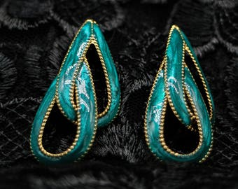 Vintage Turquoise Enamel and Gold Tone Earrings 1990's