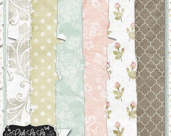 On Sale 50% Shabby Chic, Vintage,Worn and Torn Papers,Grungy,Patterned Digital Scrapbook Kit, Scrapbooking