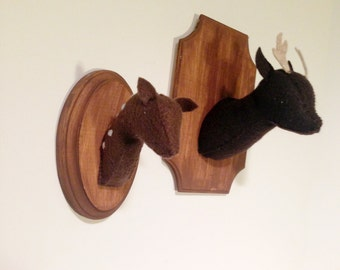 Baby Deer Fawn faux taxidermy on wooden mount