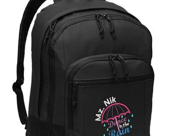 Dance in the Rain Embroidered Personalized Backpack