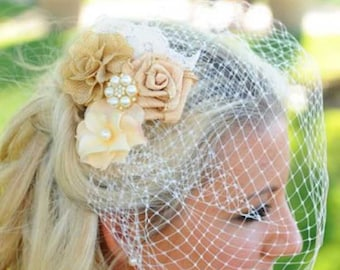 Gold Birdcage Veil Bridal Fascinator Wedding Headpiece Ivory Bridal Veil Wedding Bridal Hair Comb Blusher Wedding Veil 2 pieces