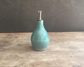 Olive Oil Cruet, Handmade Pottery Vinegar Bottle with Pour Spout in Turquoise Blue