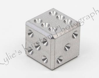 Stainless steel precision machined metal D6 game dice - 6 sided casino die, (single)