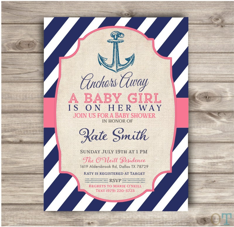 Nautical Baby Shower Printable Invitations Navy Blue and Pink