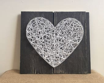 Heart Sign - Wood Sign - Rustic - String Art Heart Sign