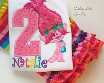 Troll Birthday Shirt or bodysuit for girls, Troll Shirt - Rainbow Dreaming - beautiful rainbow shirt with troll theme
