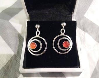 Carnelian sterling silver earrings - unique pair