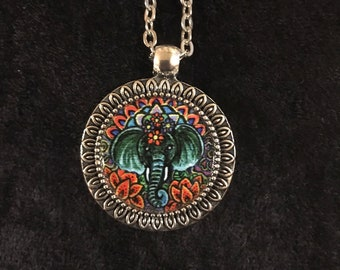 Silver-Toned Elephant Totem Pendant Necklace