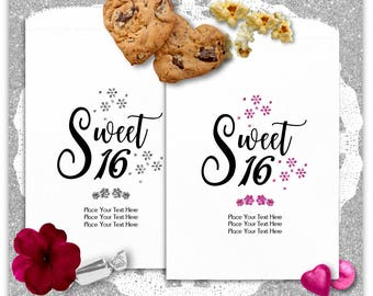 Sweet 16 Candy Bags - Cookie Bags - Candy Bags - Popcorn Bags - Party Favors -Sweet Sixteen - Custom Color S1603qui