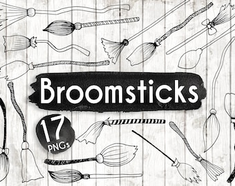 Broomstick Clipart - Hand Drawn Halloween Clip art - Halloween Digital Paper - Halloween Elements - Broomstick Illustration - ACGABW30