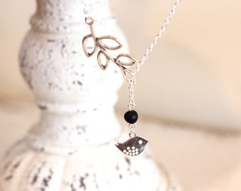"""Tiny Bird and Branch """"Y"""" Diffuser Necklace"""