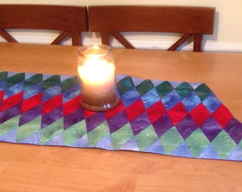 Vibrant Quilted Triangles Table Runner