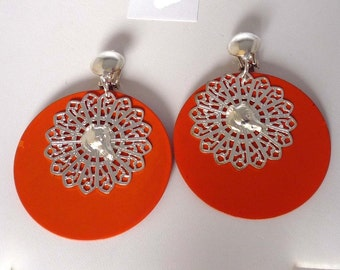 CLIP ON Earrings Orange with SP Greyhound Dog Profile 6