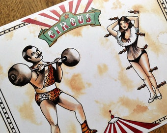 Tattoo Flash print Traditional Circus  A4