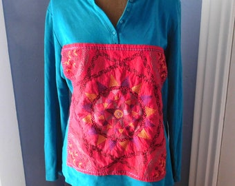Upcycled Appliqued Long-Sleeved T-Shirt - Vintage Embroidered Panel - Gently Worn Karen Scott Cotton Tee - Teal, Dark Pink - Recycled