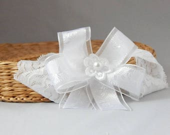 White baby bow for christening, baptism satin bow on wide lace elastic hair band