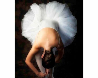 Ballet Dancer in White tutu and pink pointe shoes, Nutcracker Ballet Costume - Dancer's Pause (Vertical orientation see full image)