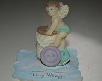 Tiny Wings Baby Angel Figurine Button Thread Sewing Theme Cute Rare Small Figure 1990s