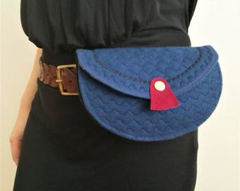 Quilted Bum Bag, Belt Bag, Hip Bag Navy and Crimson