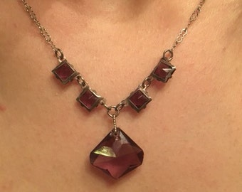 Vintage Circa 1930 Purple Czech Glass Necklace