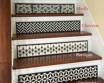 SALE 25% OFF / SET Of 3 Hand Painted Wood Stair Riser / Alternative To