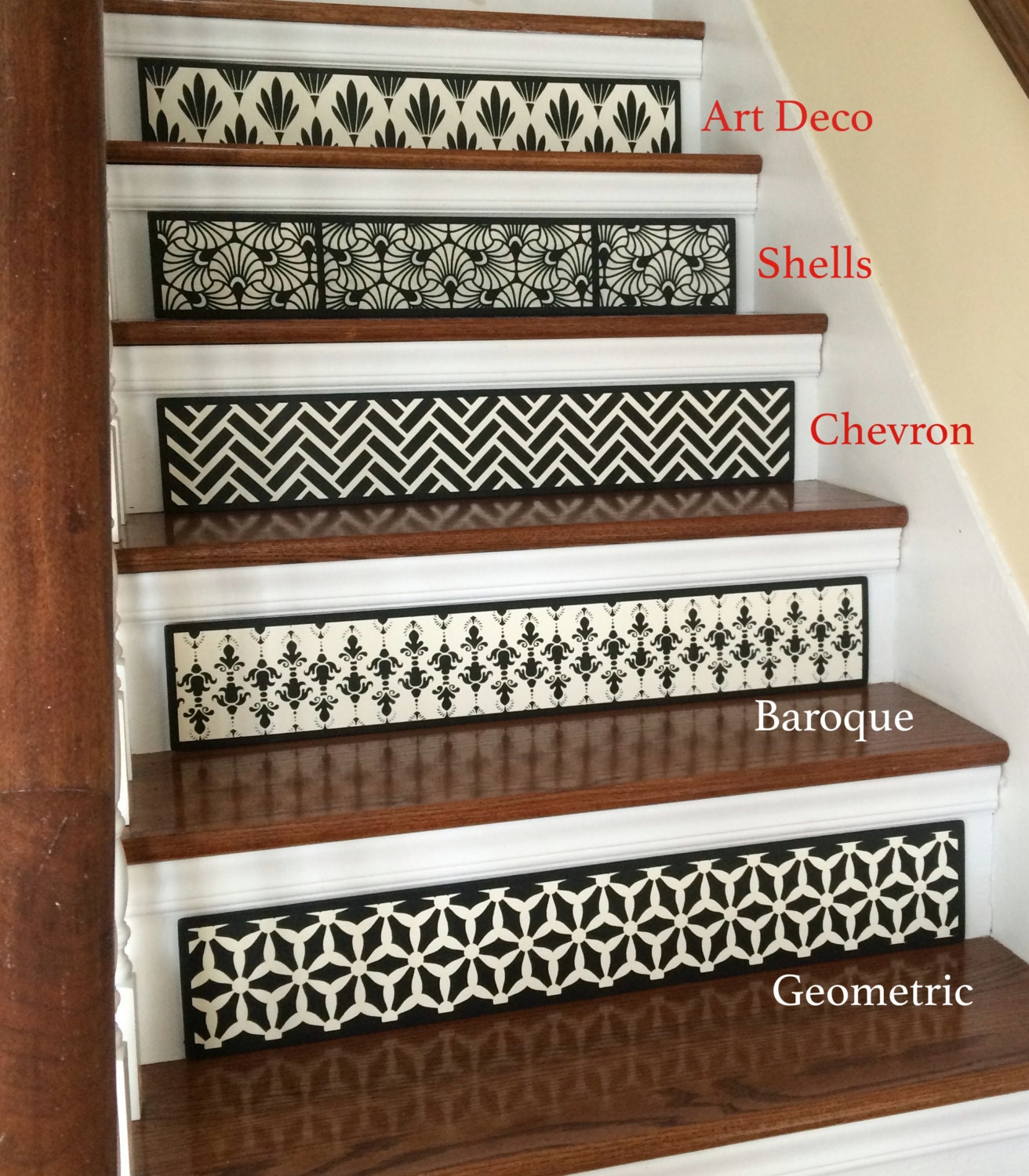 SALE OFF SET of 3 Hand Painted Wood Stair Riser