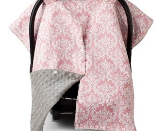 Carseat Canopy | Nursing Cover | Car Seat Canopy w/ Peekaboo Opening™- Pink Damask Pattern w/ Champagne Dot Minky for Baby Girl
