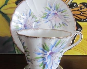 Royal Stafford by Thomas Poole ORCHID Bone China Tea Cup and Saucer - ca 1960