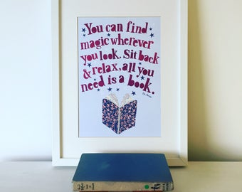 Dr Seuss Print, You can find magic, Quotes about reading, Nursery art, Kids wall art, Dr seuss, Nursery print.