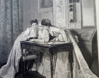 The Invitation 1888 Steel Plate Engraving to Frame 7 x 10