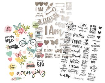 I Am Clear Stickers - 1 Color, 1 Foil, & 1 Black - Simple Stories - Perfect for Bible Journaling, found at ByTheWell4God