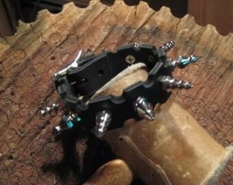 Spiked Black Leather Bracelet