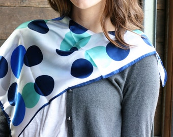 Polka Dot Scarf ~ Made in Italy ~ Aqua, Navy and Royal Blue Large Fashion Scarf  ~ Vintage Women's Accessory Scarf