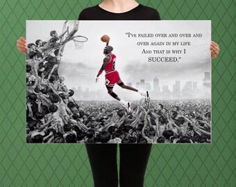 Basketball Legend Inspired, Motivational Success Art, Free Throw Dunk Custom Raised Canvas Art Piece