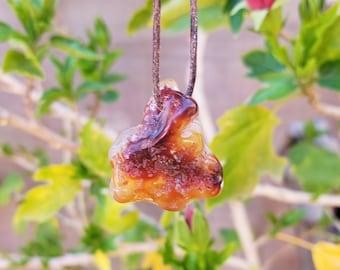 Fire Agate Pendant - Agate Necklace - Fire Agate Necklace - Raw Stone Necklace - Hippie Necklace - Stone Necklace - Chakra Necklace - Reiki