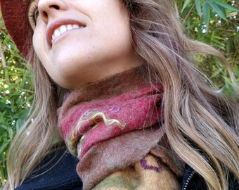 Wet felted scarves