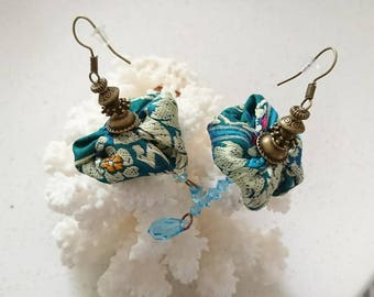 "Earrings ""Pondicherry"" recycled sari silk from fair trade from India, bicones and Swarovski Crystal drops"