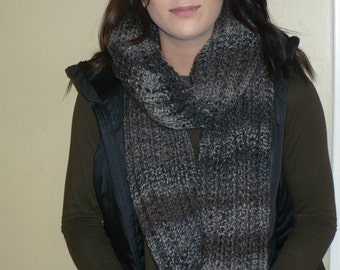 scarf long gray scarf Red scarf  hand knit scarf long wrap