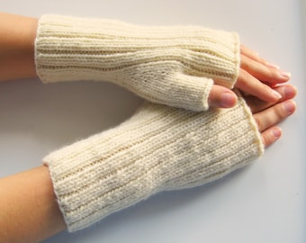Mens wool fingerless gloves - winter white