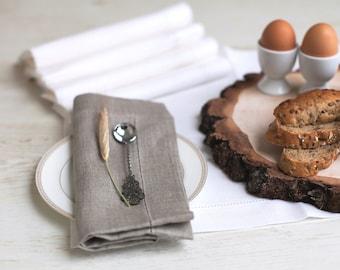 Hemstitched napkins set of 6 - Linen napkin cloths - Natural linen napkins - Easter napkins - Mothers day gift - Rustic wedding napkins