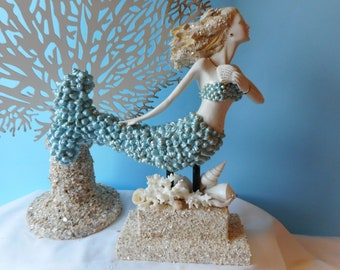 Stunning Sea Shell Mermaid Statue- Mermaid Art- Mermaid With Shells-Mermaid Figurine-Seashell Art