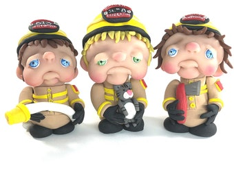FIREFIGHTER mini moppet, ooak doll, handmade sculpture, one of a kind, polymer clay art doll
