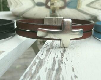 silver cross leather cuff bracelet